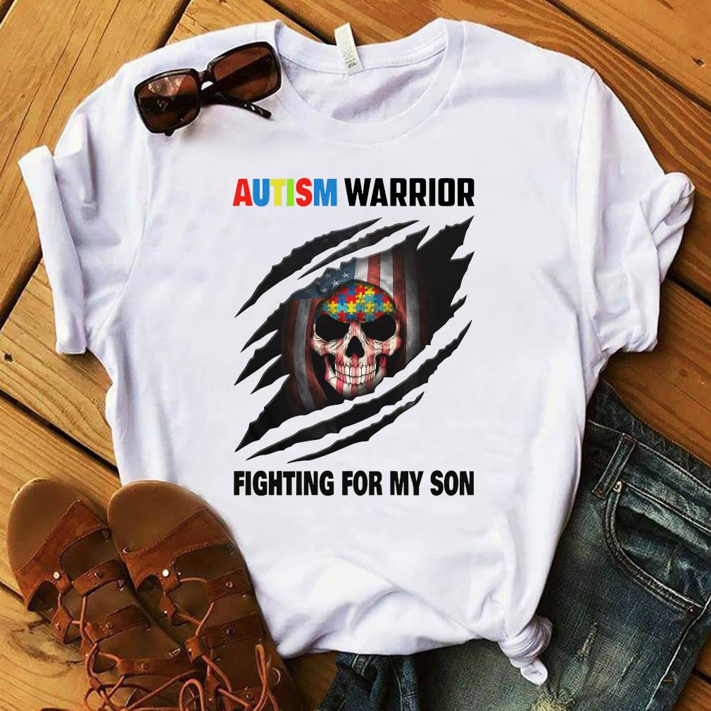 Autism Warrior Skull Fighting For My Son With American Flag Shirt