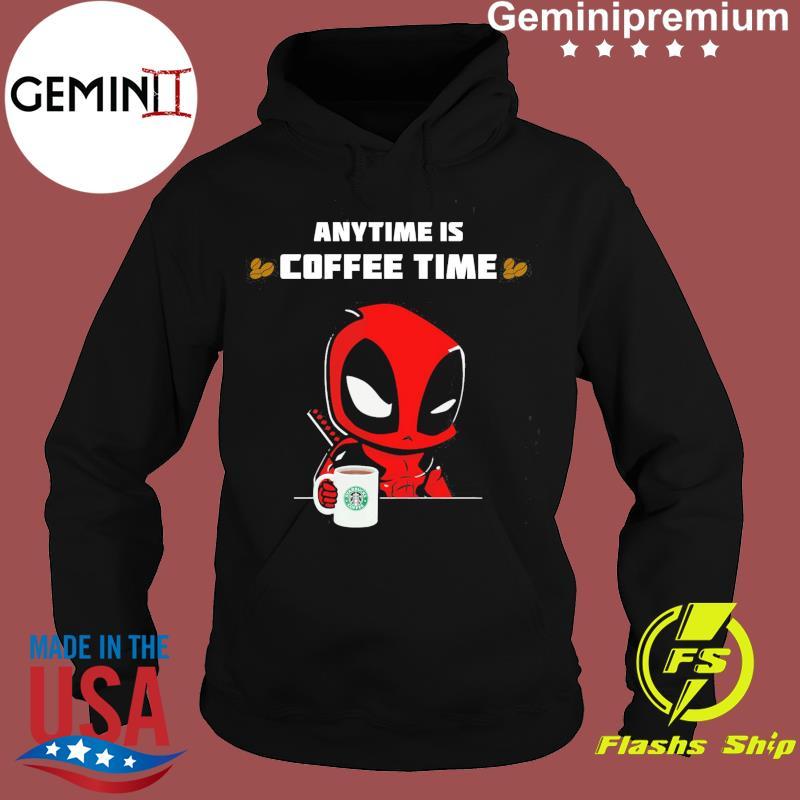 Baby Deadpool Anytime Is Starbucks Coffee Time Shirt Hoodie