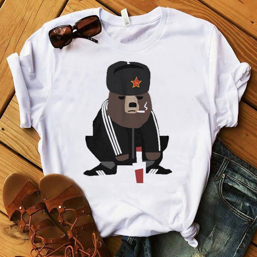 Official Gopnik Bear Squatting On The Street Shirt