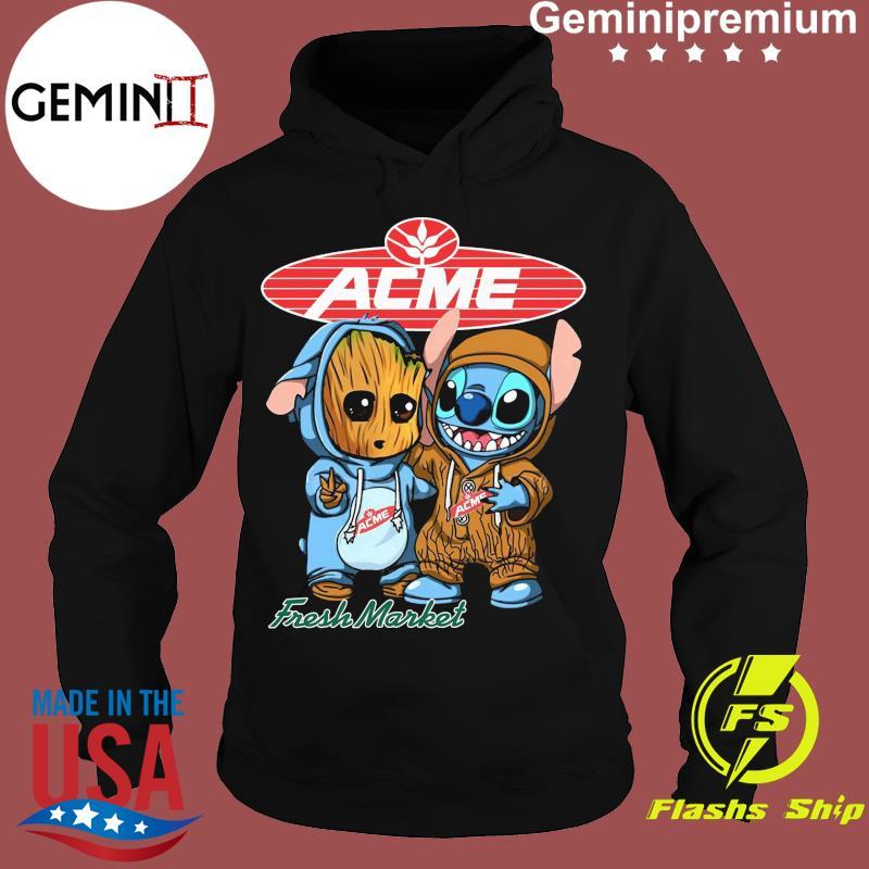 Best Friends Baby Groot And Baby Stitch ACME Fresh Market Logo Shirt Hoodie