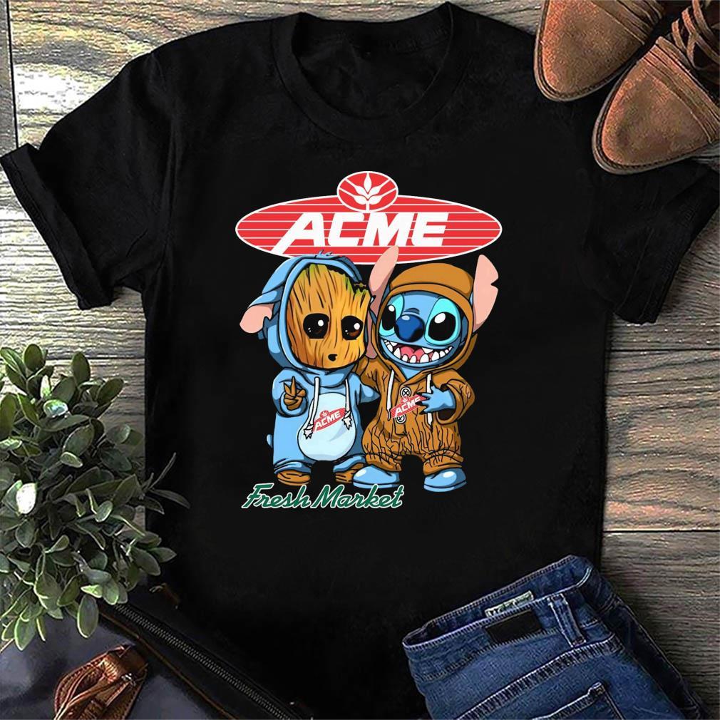Best Friends Baby Groot And Baby Stitch ACME Fresh Market Logo Shirt