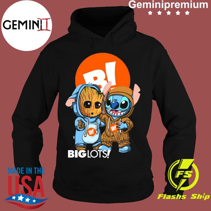 Best Friends Baby Groot And Baby Stitch Big Lots Logo Shirt Hoodie