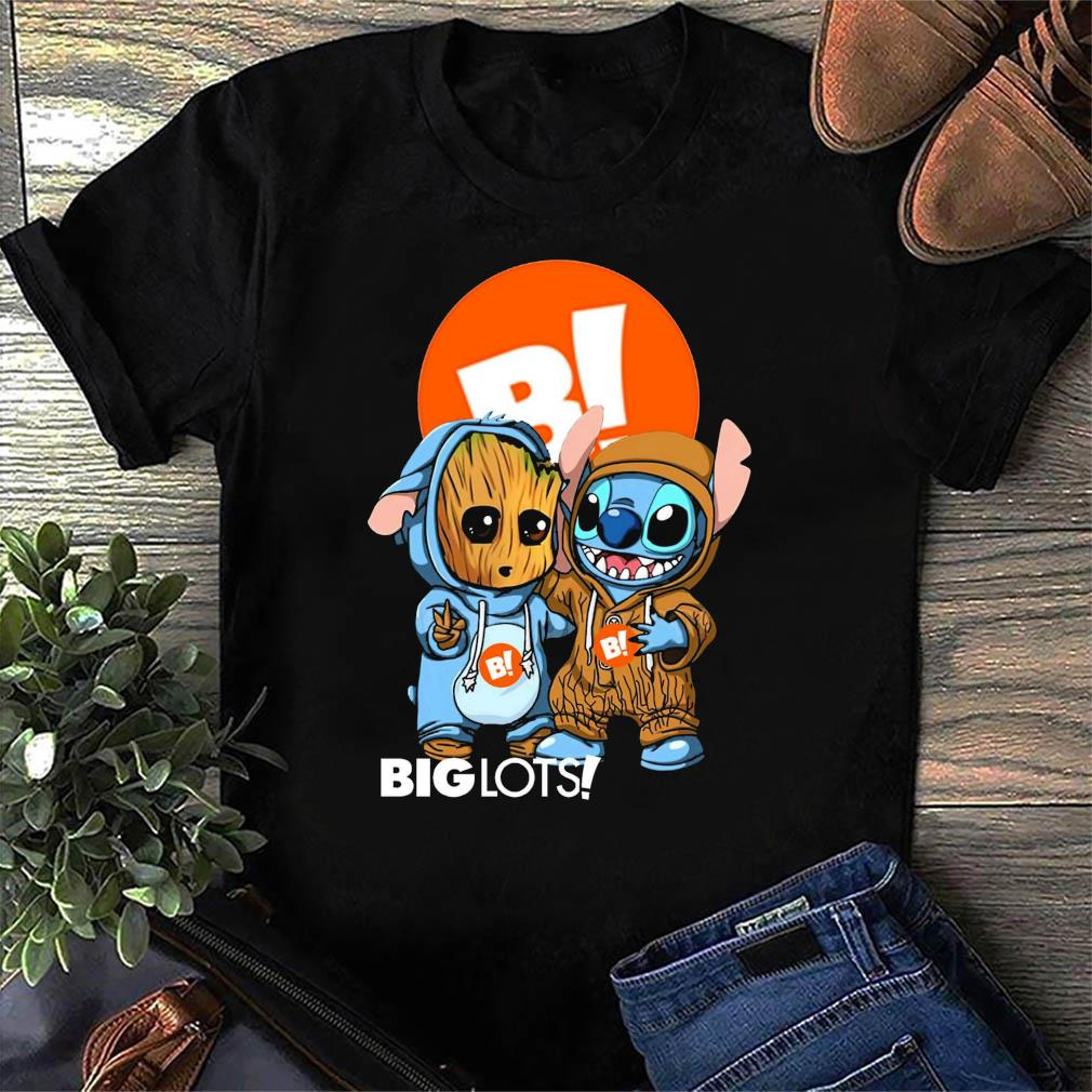 Best Friends Baby Groot And Baby Stitch Big Lots Logo Shirt