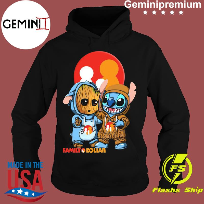 Best Friends Baby Groot And Baby Stitch Family Dollar Logo Shirt Hoodie