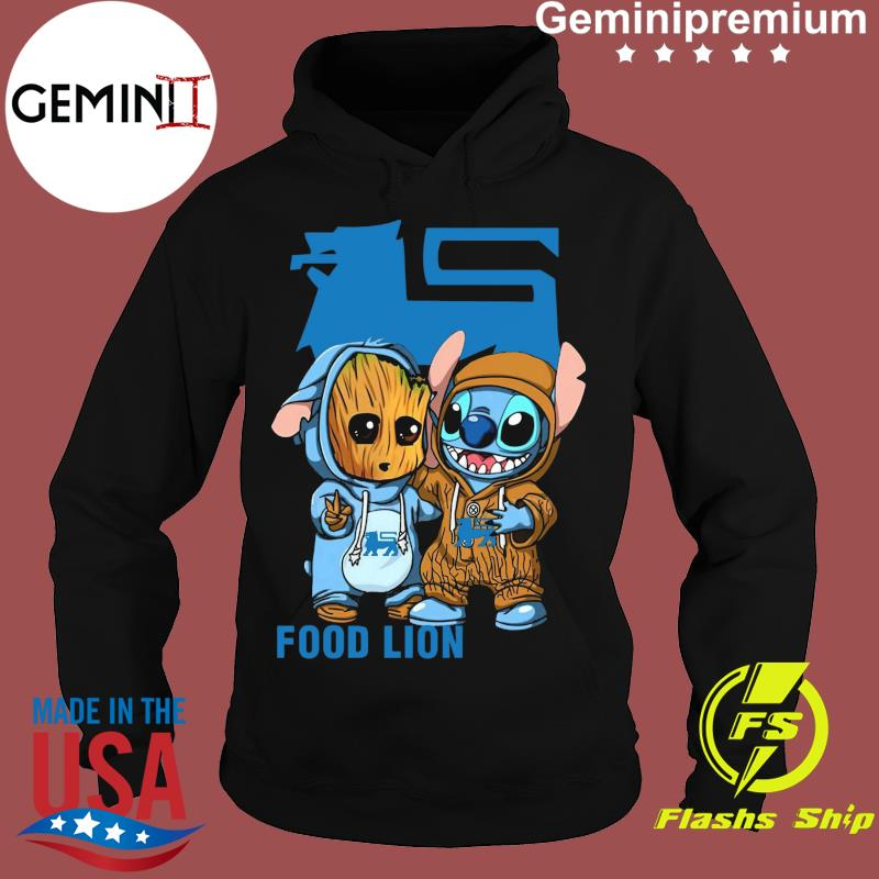 Best Friends Baby Groot And Baby Stitch Food Lion Logo Shirt Hoodie
