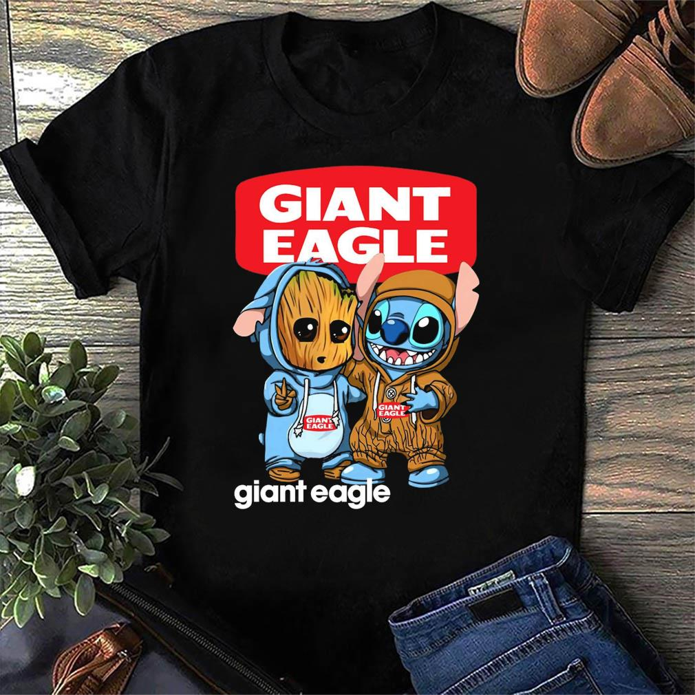 Best Friends Baby Groot And Baby Stitch Giant Eagle Logo Shirt