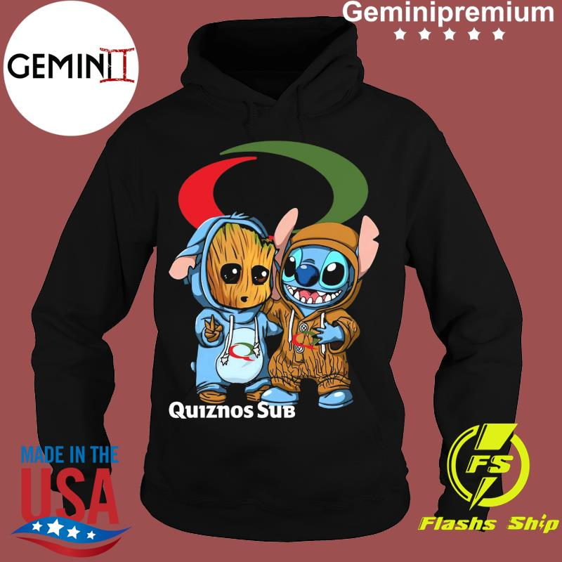Best Friends Baby Groot And Baby Stitch Quiznos Sub Logo Shirt Hoodie