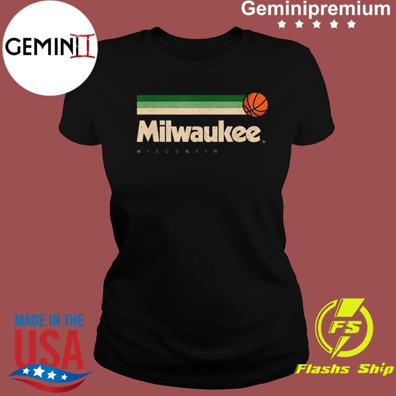 Milwaukee Basketball B-Ball City Wisconsin Retro Milwaukee TeeShirt Ladies tee