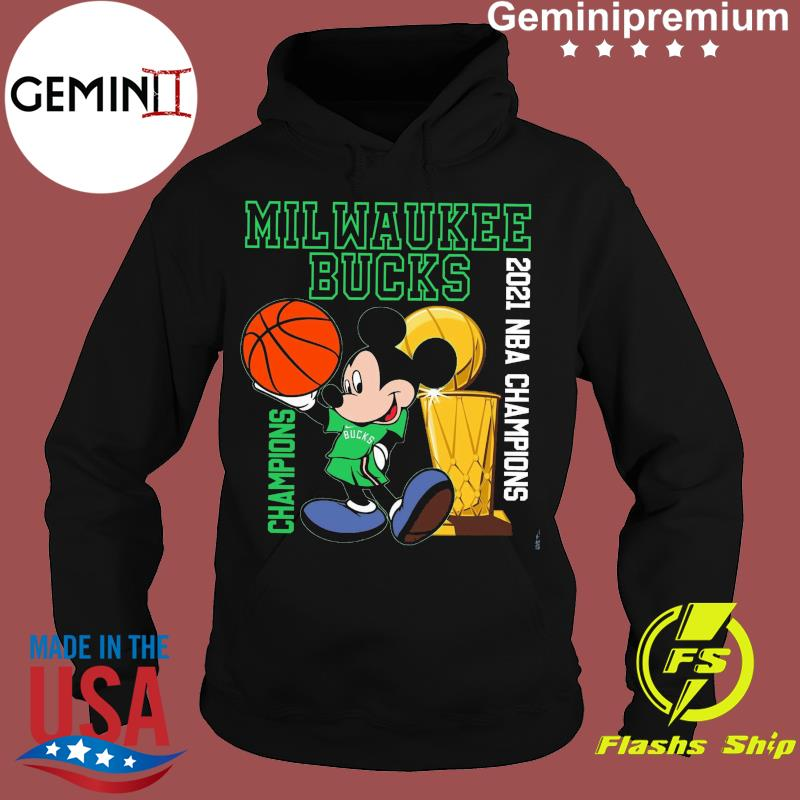 Milwaukee Bucks Disney Mickey Mouse Champions 2021 Nba Basketball Shirt Hoodie
