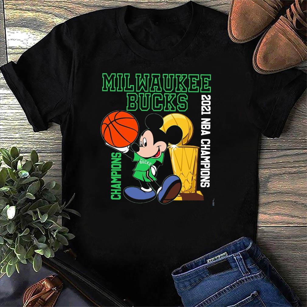 Milwaukee Bucks Disney Mickey Mouse Champions 2021 Nba Basketball Shirt