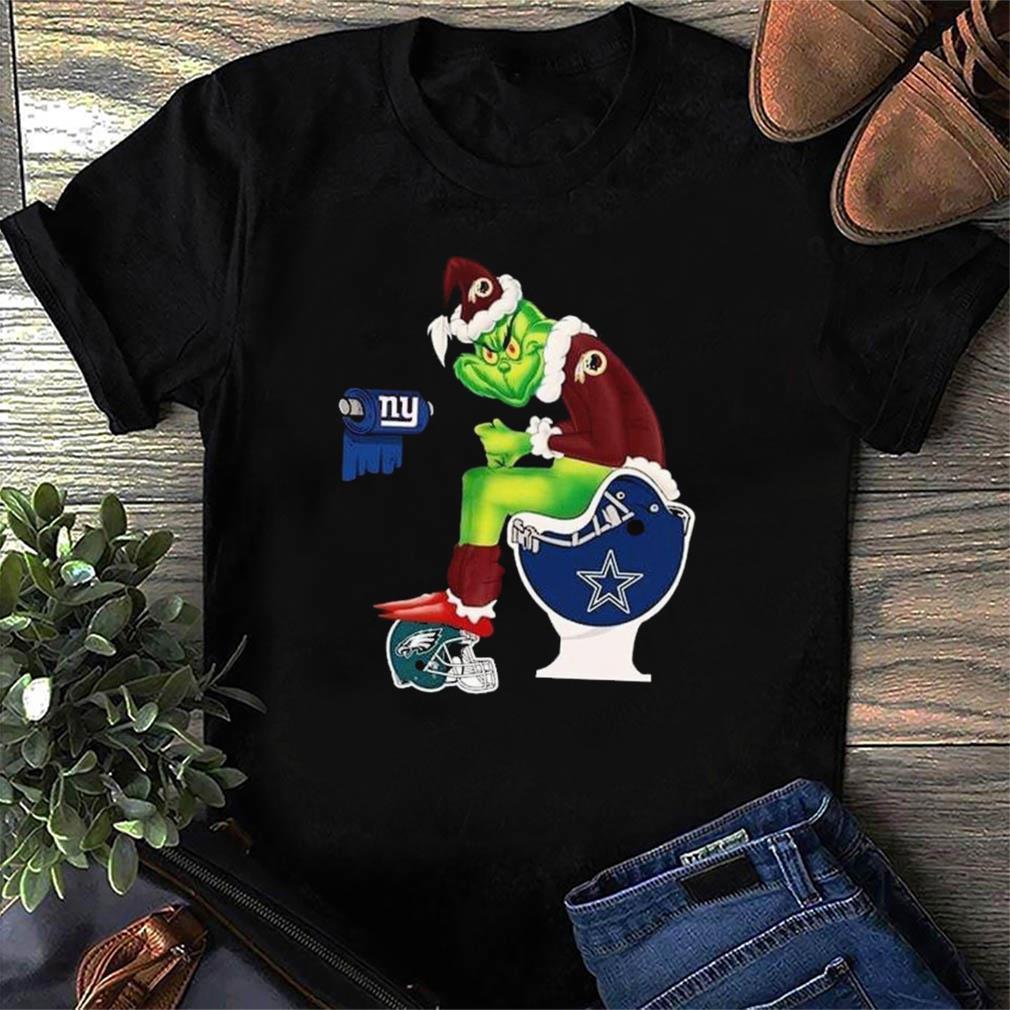 The Grinch Washington Redskins Shit On Toilet Dallas Cowboys And Other Teams New York Giants Christmas Sweatshirt