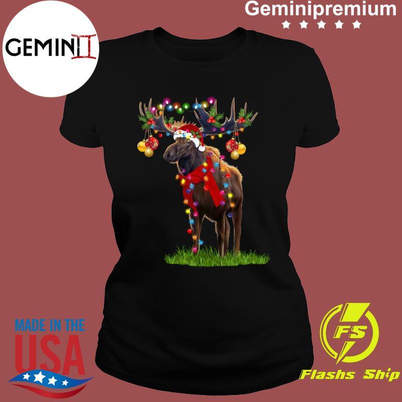 Reindeer Merry Christmas Light Shirt Ladies tee