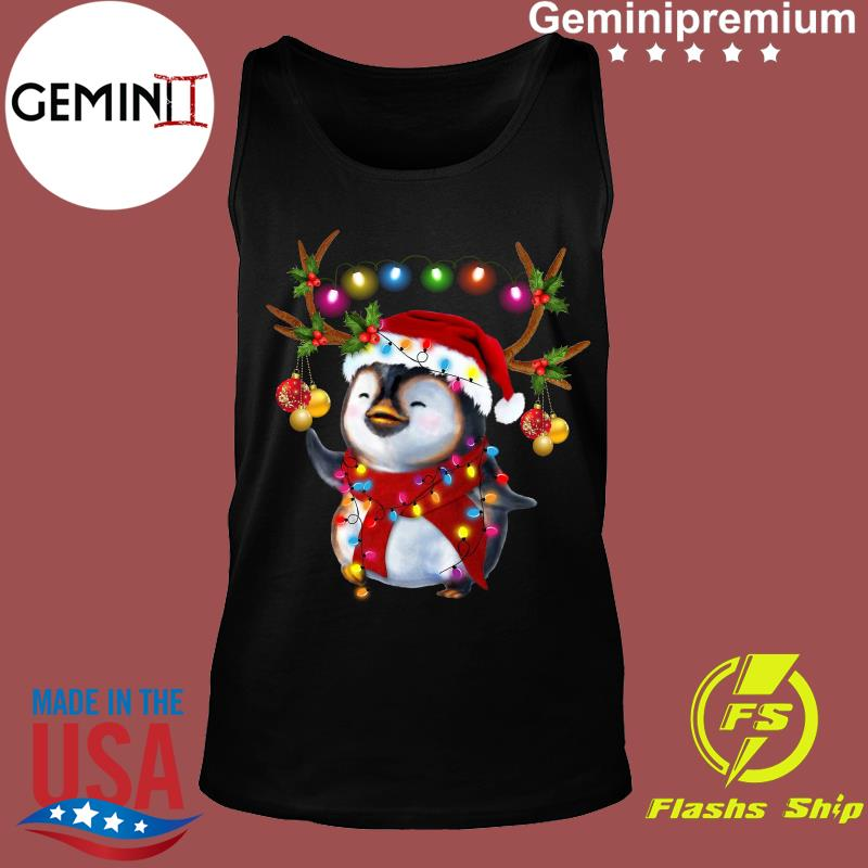 Santa Penguin Reindeer christmas light s Tank top