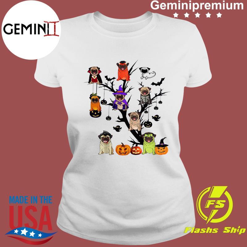 Pug Dog Halloween Tree Shirt Ladies tee