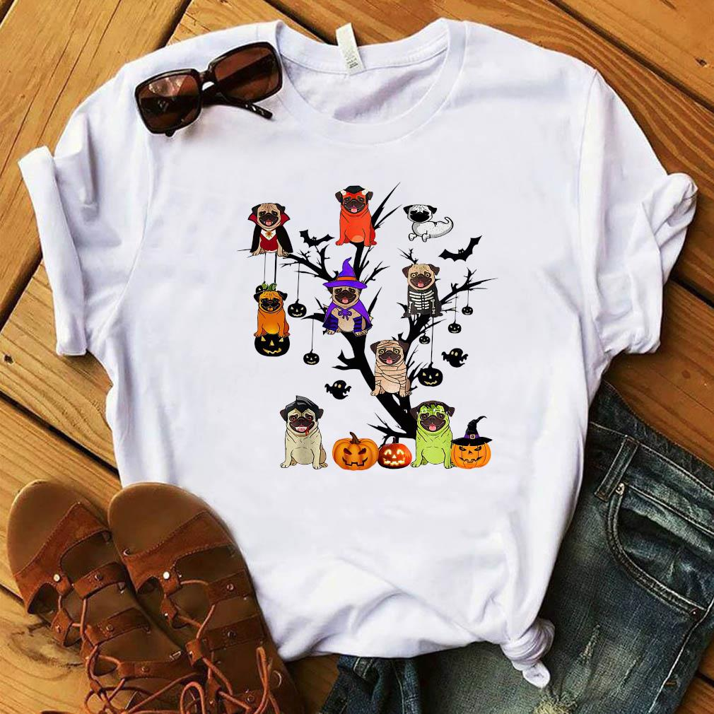 Pug Dog Halloween Tree Shirt