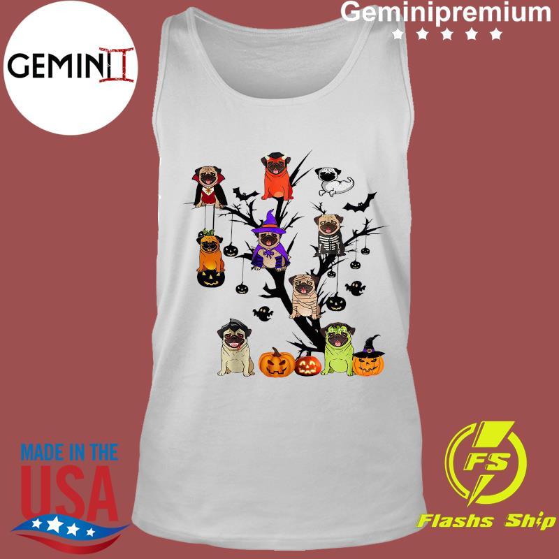 Pug Dog Halloween Tree Shirt Tank Top