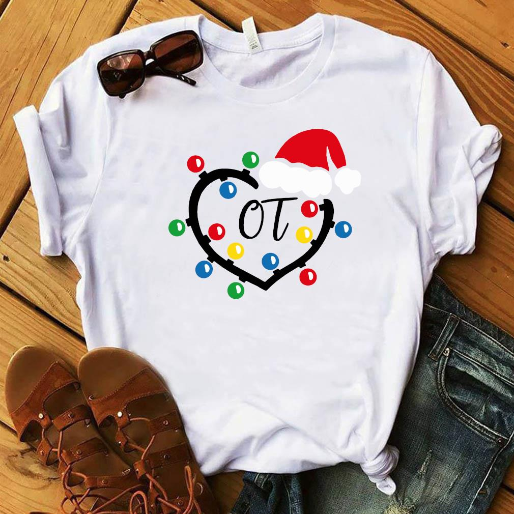 Santa Hat Heart OT Merry Christmas Light Sweats Shirt White