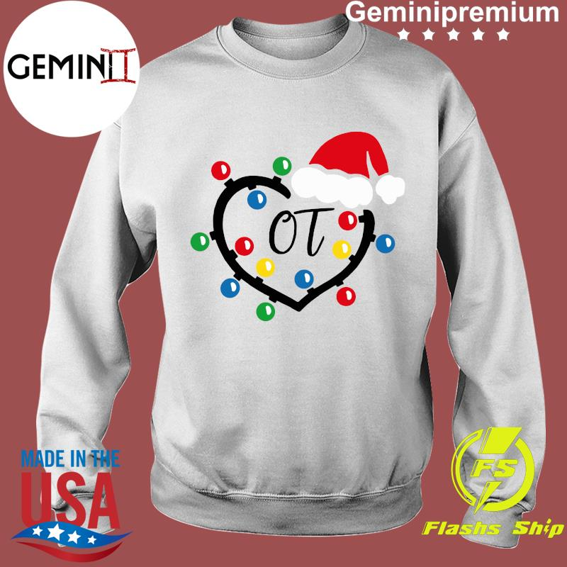 Santa Hat Heart OT Merry Christmas Light Sweatshirt